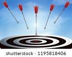 red arrows many darts fling...   Shutterstock .eps vector #1195818406