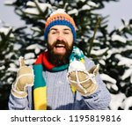 snowball lies in male hand in... | Shutterstock . vector #1195819816