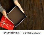 top view of female hands... | Shutterstock . vector #1195822630