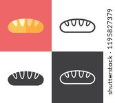 french baguette icons | Shutterstock .eps vector #1195827379