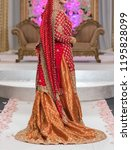 pakistani indian bridal showing ... | Shutterstock . vector #1195828099