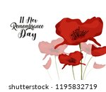 red poppies banner background... | Shutterstock .eps vector #1195832719