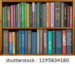Small photo of Bookshelves with books covering a variety of topics. (All spines have been fabricated to avoid copyright issues.)