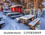 rural winter landscape with... | Shutterstock . vector #1195834849