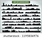 set of cityscape silhouettes on ... | Shutterstock .eps vector #1195836976
