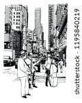 street performers playing music ... | Shutterstock .eps vector #1195840219
