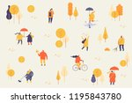 autumn park with people. people ...   Shutterstock .eps vector #1195843780
