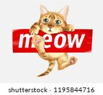 Stock vector cute cat hanging on meow sticker illustration 1195844716
