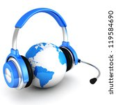 blue globe earth sphere with headphones and microphone - stock photo