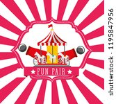 carnival carousel cannon fun...   Shutterstock .eps vector #1195847956