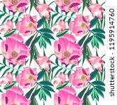 tropical pattern with palm... | Shutterstock . vector #1195914760