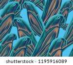 tropical pattern with parrot... | Shutterstock . vector #1195916089