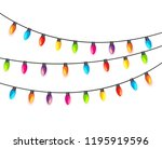 multicolored garland lamp bulbs ... | Shutterstock .eps vector #1195919596