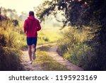 young man enjoying in a healthy ... | Shutterstock . vector #1195923169