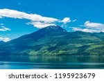 majestic mountain lake in... | Shutterstock . vector #1195923679