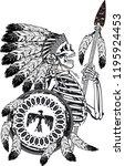 native american skeleton... | Shutterstock .eps vector #1195924453