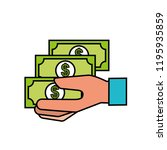hand holding banknotes money... | Shutterstock .eps vector #1195935859