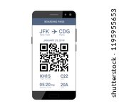 qr code on the screen of a... | Shutterstock .eps vector #1195955653