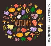 colorful autumn background with ... | Shutterstock .eps vector #1195955740