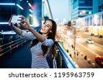 happy smiling attractive... | Shutterstock . vector #1195963759