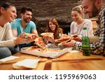 smiling group of young people... | Shutterstock . vector #1195969063