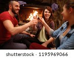 happy friends toasting with... | Shutterstock . vector #1195969066