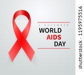 world aids day symbol  1... | Shutterstock .eps vector #1195975516