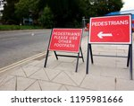 warning signs on footpath right ...   Shutterstock . vector #1195981666