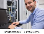 man searching through servers... | Shutterstock . vector #119598298
