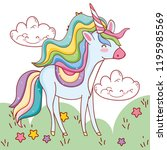 unicorn fantastic cartoon | Shutterstock .eps vector #1195985569
