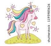 unicorn at nature cartoons | Shutterstock .eps vector #1195985626