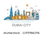dubai city skyline background... | Shutterstock .eps vector #1195986196