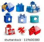 set of colorful gift boxes with ... | Shutterstock .eps vector #119600380