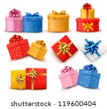 collection of color gift boxes... | Shutterstock .eps vector #119600404