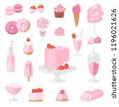 pink food vector pinkish cake... | Shutterstock .eps vector #1196021626