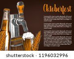 set of beer objects. hand drawn ... | Shutterstock .eps vector #1196032996