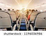 commercial aircraft cabin with... | Shutterstock . vector #1196036986