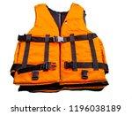 orange life jacket on white... | Shutterstock . vector #1196038189