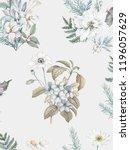 blooming watercolor blue... | Shutterstock . vector #1196057629
