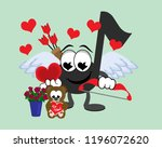 cartoon winged music note cupid ... | Shutterstock . vector #1196072620