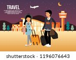 travelers departing from the... | Shutterstock .eps vector #1196076643