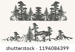 set of vector forest borders... | Shutterstock .eps vector #1196086399