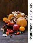 autumn still life with pumpkins ... | Shutterstock . vector #1196100136
