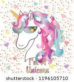 colorful unicorn illustration...   Shutterstock .eps vector #1196105710