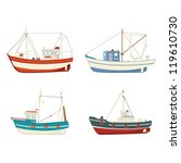 Four Colourful Vector Fishing...