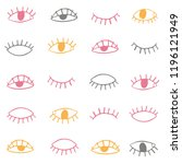 hand drawn eyes pattern.... | Shutterstock .eps vector #1196121949