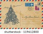 vintage christmas postcard | Shutterstock .eps vector #119612800