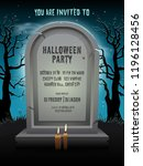 halloween party invitation card ... | Shutterstock .eps vector #1196128456
