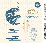 japanese icons and pattern... | Shutterstock .eps vector #1196131846