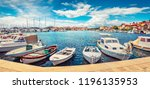 panoramic summer cityscape of... | Shutterstock . vector #1196135953